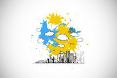 Composite image of cityscape graphic on paint splashes Royalty Free Stock Photo