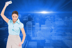 Composite image of classy businesswoman throwing her calculator Royalty Free Stock Photo