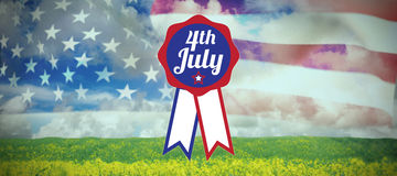 Composite image of close up of badge with 4th july text Royalty Free Stock Photos