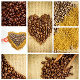 Composite image of close up of a basket full of dark coffee beans Royalty Free Stock Photography