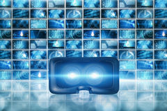 Composite image of close-up of black virtual reality simulat Royalty Free Stock Photos