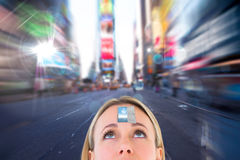Composite image of close up of blonde woman looking up Stock Photos