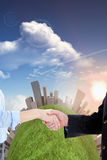 Composite image of close up of a business people closing a deal Royalty Free Stock Images