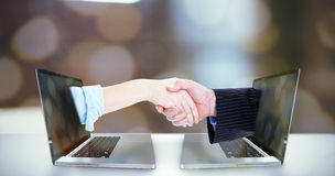 Composite image of close up of a business people closing a deal Royalty Free Stock Image