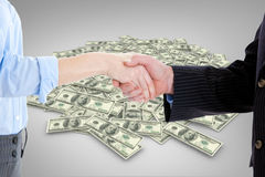 Composite image of close up of a business people closing a deal Stock Images