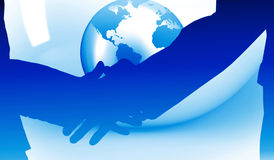 Composite image of close up of business people shaking their hands Stock Photos