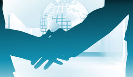 Composite image of close up of business people shaking their hands Stock Images