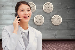 Composite image of close up of an businesswoman on phone royalty free stock image