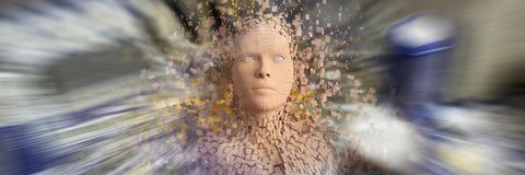 Composite image of close-up of composite brown pixelated 3d woman. Close-up of composite brown pixelated 3d woman against electronic circuit board with processor Royalty Free Stock Photos