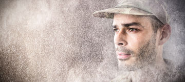 Composite image of close up of confident soldier stock images