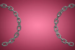 Composite image of close up 3d image of broken round chain. Close up 3d image of broken round chain against red and white background Royalty Free Stock Image