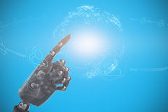 Composite image of close up of gray robotic arm. Close up of gray robotic arm against digitally generated image of earth with social connectivity Royalty Free Stock Photography