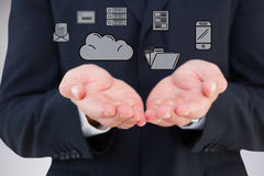 Composite image of close up of hand of a businessman Royalty Free Stock Image