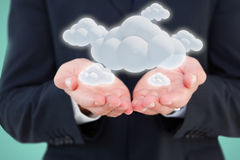 Composite image of close up of hand of a businessman 3d Royalty Free Stock Image