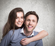 Composite image of close up of happy young couple Stock Images