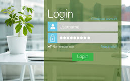 Composite image of close-up of login page. Close-up of login page against documents are posing on the desk Stock Image