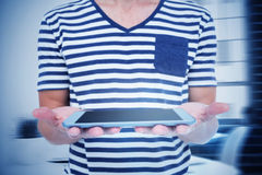 Composite image of close up of man holding tablet Stock Photos
