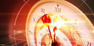 Composite image of close-up of old pocket clock Stock Photos