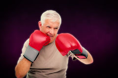 Composite image of close-up portrait of a determined senior boxer Stock Photography