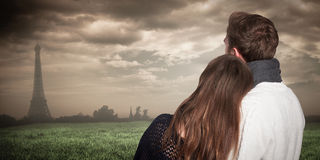 Composite image of close up rear view of romantic couple Stock Photo