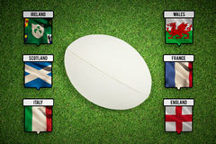 Composite image of close-up of rugby ball Royalty Free Stock Image