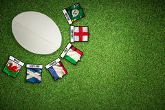 Composite image of close-up of rugby ball Stock Photography