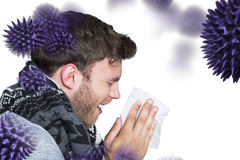 Composite image of close up side view of man blowing nose. Close up side view of man blowing nose against virus royalty free stock images