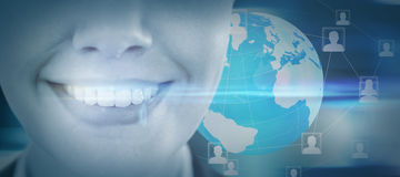 Composite image of close up of smiling businesswoman Stock Photography