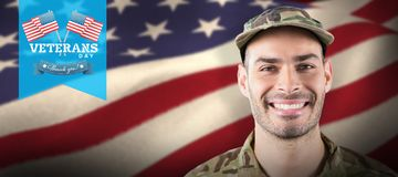 Composite image of close up of smiling soldier Royalty Free Stock Photos