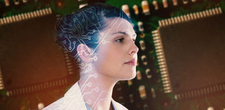 Composite image of close-up of thoughtful female scientist looking away Stock Photo