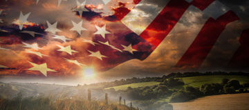 Composite image of close up of the us flag Stock Image