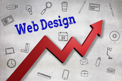 Composite image of close up of web design text. Close up of Web design text  against black wall Stock Photos