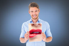 Composite image of close up of woman biting red lips Stock Photos