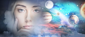 Composite image of close up of woman face. Close up of woman face against composite image of solar system against white background in 3d Stock Photo