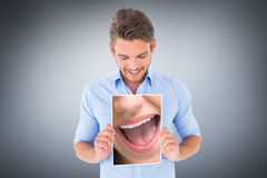 Composite image of close up of woman laughing Stock Photo