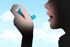 Composite image of close up of a woman using an asthma inhaler Stock Photos