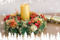 Composite image of close up of wreath with candles Stock Photos