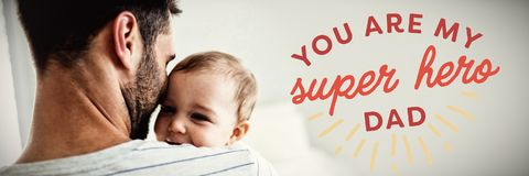 Composite image of close up of you are my super hero dad text. Close up of you are my super hero dad text against father holding his baby girl stock photos