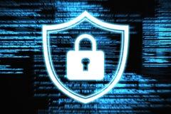 Composite image of closed lock. Closed lock against blue texts Stock Image