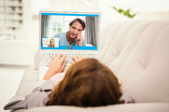 Composite image of closeup of beautiful woman smiling at home stock photo