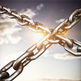 Composite image of closeup 3d image of metallic chains in cross shape Royalty Free Stock Photo