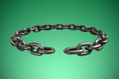 Composite image of closeup 3d image of round broken chain. Closeup 3d image of round broken chain against green vignette Stock Image