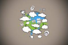 Composite image of cloud computing brainstorm on paint splashes Stock Image