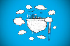 Composite image of cloud computing with cityscape and ladder doodle Royalty Free Stock Photo