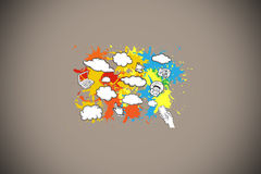 Composite image of cloud computing concept on paint splashes Stock Photo