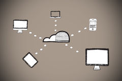 Composite image of cloud computing doodle Royalty Free Stock Image