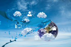Composite image of cloud computing graphic with paint splash Stock Photos