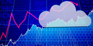 Composite image of cloud computing symbol. Cloud computing symbol against stocks and shares Stock Photography