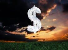 Composite image of cloud dollar. Cloud dollar against green grass under dark blue and orange sky royalty free illustration