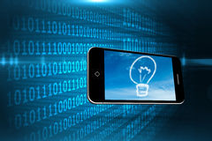 Composite image of cloud light bulb on smartphone screen Royalty Free Stock Photo